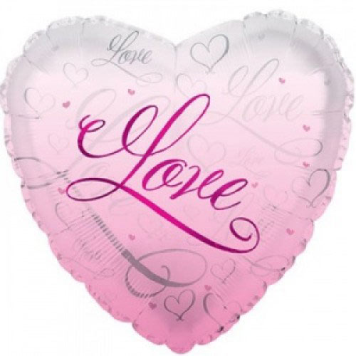 Шар (18''/46 см) Сердце, Романтичная любовь, Розовый, 1 шт.