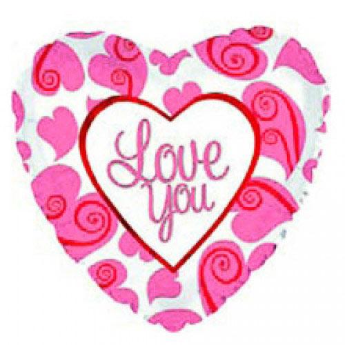 Шар (18''/46 см) Сердце, Я люблю тебя (неоновые сердца), Белый, 1 шт.