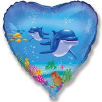 Шар (18''/46 см) Сердце, Счастливый дельфин, Голубой, 1 шт