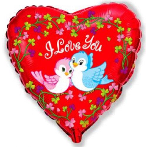 Шар (18''/46 см) Сердце, Влюбленные птички, Красный, 1 шт.