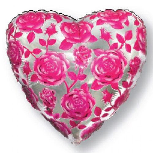 Шар (18''/46 см) Сердце, Розы, Фуше, 1 шт.
