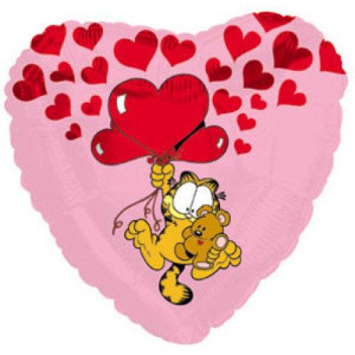 Шар (18''/46 см) Сердце, Гарфилд с сердечками, Розовый, 1 шт.