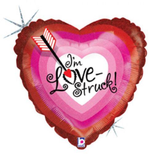 Шар (18''/46 см) Сердце, Стрела любви, Голография, 1 шт.