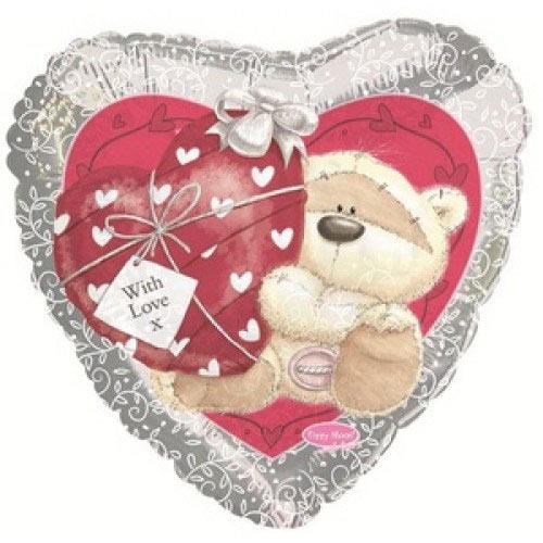 Шар (18''/46 см) Сердце, Мишка с сердечком, Серебро, 1 шт.
