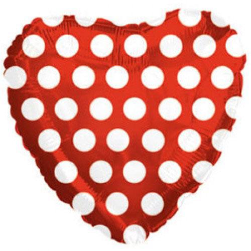 Шар (18''/46 см) Сердце, В белый горошек, Красный, 1 шт.