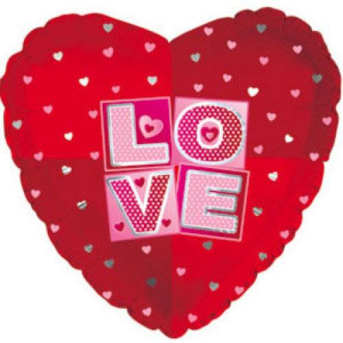 Шар (18''/46 см) Сердце, Я люблю тебя (квадраты), Красный, 1 шт.