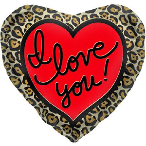 Шар (18''/46 см) Сердце, Я люблю тебя (леопардовое), 1 шт.