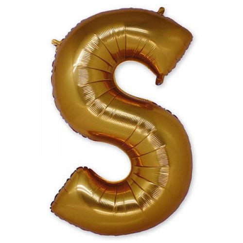 """Шар-фигура буква S 40"""" Gold"""