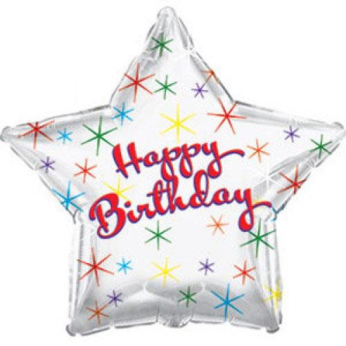 Шар (18''/46 см) Звезда, С Днем рождения (искрящиеся блестки), Серебро, 1 шт.