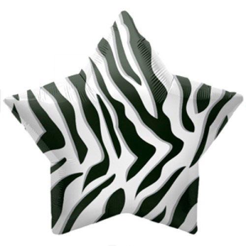 Шар (22''/56 см) Звезда, Полоски зебры, Черный, 1 шт.