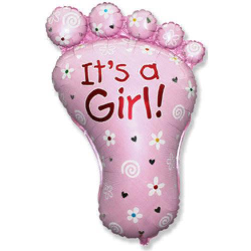 Шар (32''/81 см) Фигура, Ступня девочки, Розовый, 1 шт.
