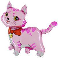 Шар (32''/81 см) Фигура, Милый котенок, Розовый, 1 шт.