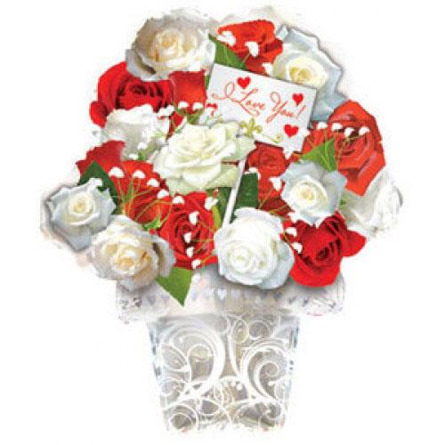 Шар (21''/53 см) Фигура, Букет из красных и белых роз, Белый, 1 шт.