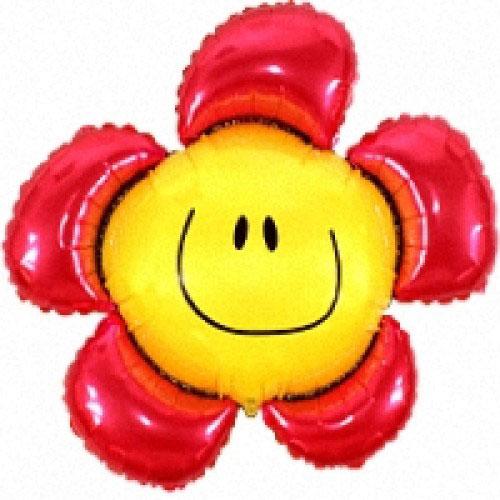 Шар (40''/102 см) Фигура, Солнечная улыбка, Красный, 1 шт.