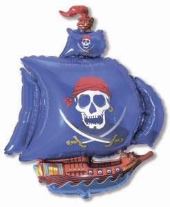 Шар (41''/104 см) Фигура, Пиратский корабль, Синий, 1 шт.