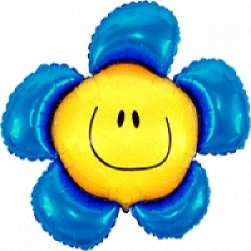 Шар (40''/102 см) Фигура, Солнечная улыбка, Синий, 1 шт.