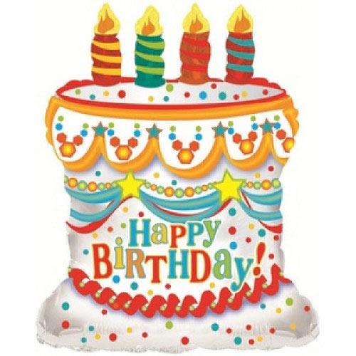 Шар (28''/71 см) Фигура, С Днем рождения (торт), Белый, 1 шт.