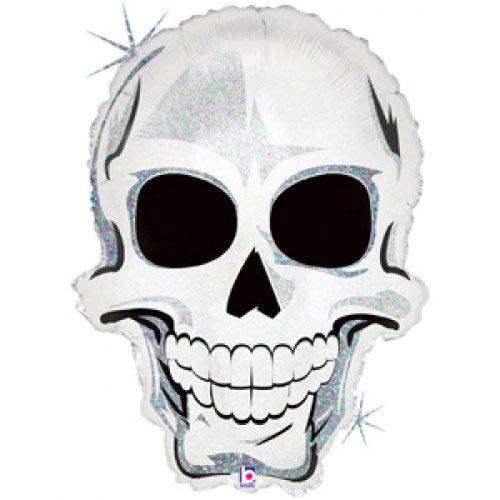 Шар (25''/64 см) Фигура, Страшный череп, Голография, 1 шт