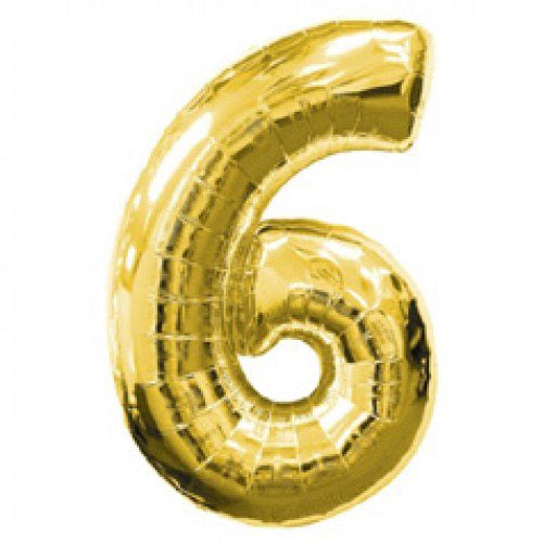 Шар (39''/99 см) Цифра, 6 и 9, Золото, 1 ш