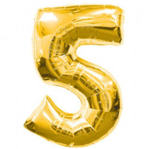 Шар (39''/99 см) Цифра, 5, Золото, 1 шт.