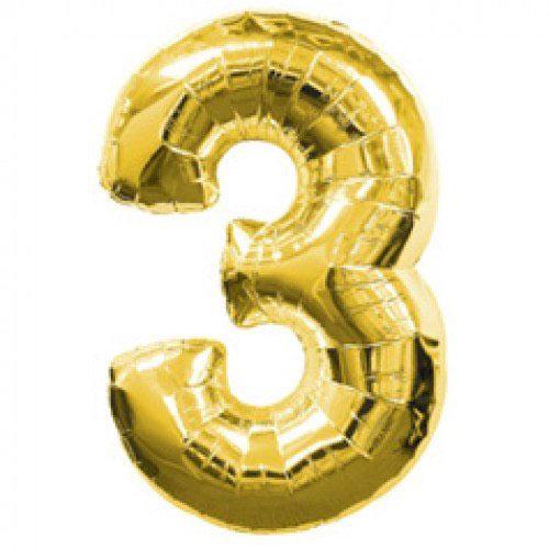 Шар (39''/99 см) Цифра, 3, Золото, 1 шт.