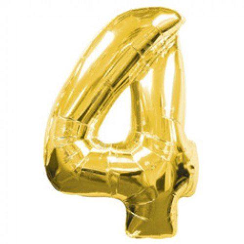 Шар (39''/99 см) Цифра, 4, Золото, 1 шт.