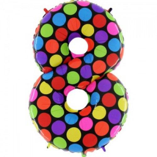 Шар (40''/102 см) Цифра, 8 Супер Яркий, 1 шт.