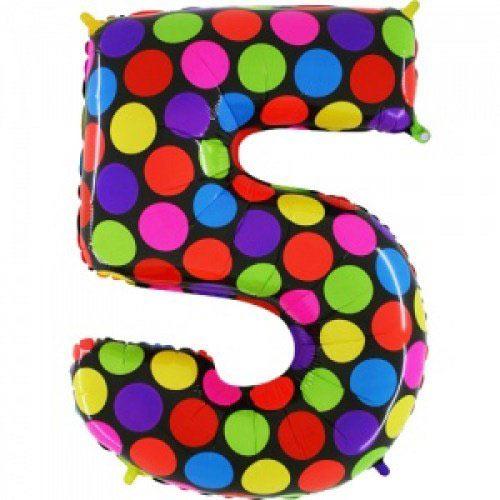 Шар (40''/102 см) Цифра, 5 Супер Яркий, 1 шт.