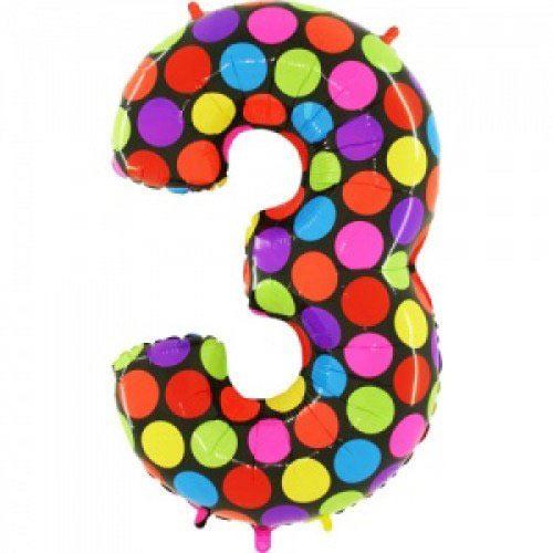 Шар (40''/102 см) Цифра, 3 Супер Яркий, 1 шт.