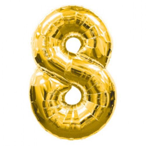 Шар (39''/99 см) Цифра, 8, Золото, 1 шт.
