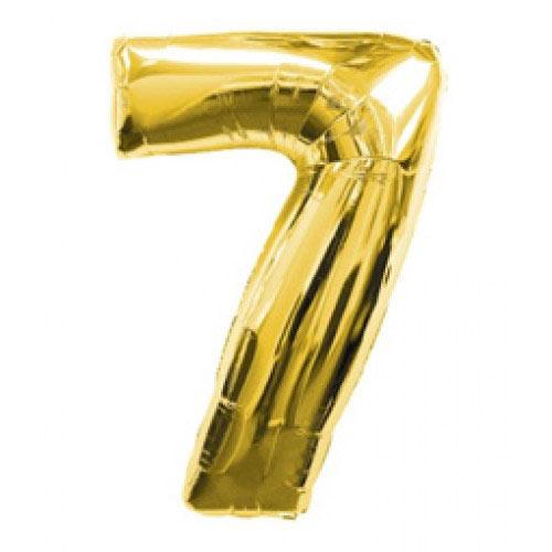 Шар (39''/99 см) Цифра, 7, Золото, 1 шт.
