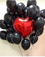 Черные шары с большим сердцем готовый букет из шаров
