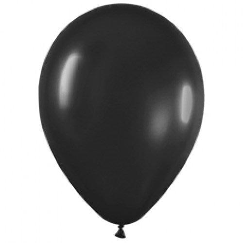 Шар (12''/30 см) Черный (580), металлик, 1 шт.