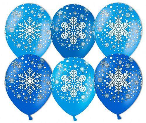 Шар (12''/30 см) Снежинка, Ассорти Голубой/Синий, пастель