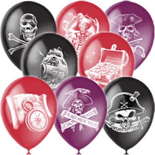 """Воздушные шарики 12""""/30см с 2ст. рис. (растр) Пираты"""