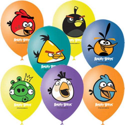 """Воздушные шарики 12""""/30см с 1ст. 3цв. рис. (шелк) Пастель и декоратор Angry Birds"""