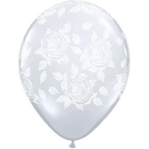 Шар (12''/30 см) Элегантные розы, Прозрачный (390), кристалл, 5 ст, 1 шт.