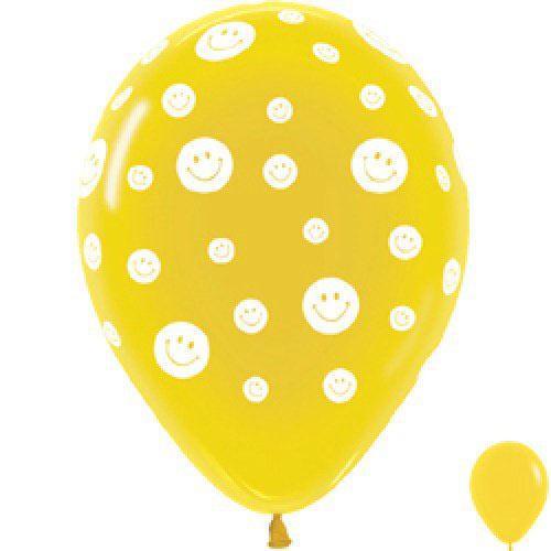 Шар (12''/30 см) Смайлики, Желтый (020), пастель, 5 ст, 1 шт.