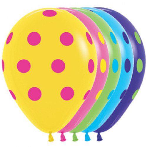 Шар (12''/30 см) Цветные точки, Ассорти, пастель, 5 ст, 1 шт.