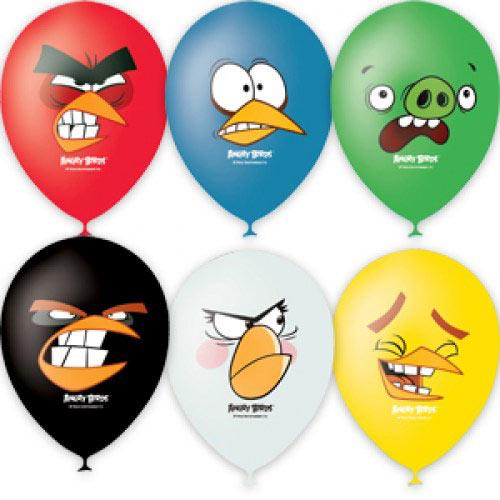 """Воздушные шарики 12""""/30см с 1 ст. 4 цв. рис. (шелк.) Пастель и декоратор Angry Birds Faces"""