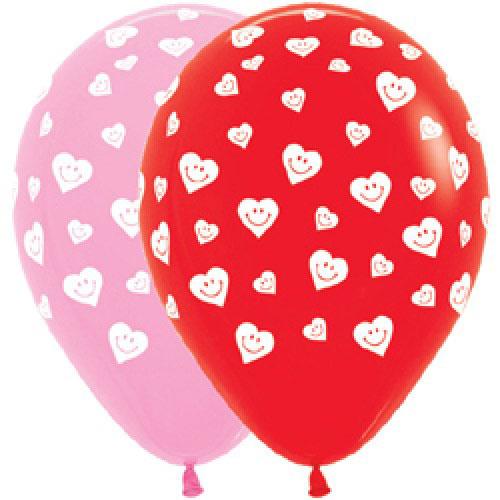 Шар (12''/30 см) Сердечки-смайлики, Розовый (009) / Красный (015), Ассорти, пастель, 5 ст, 1 шт.
