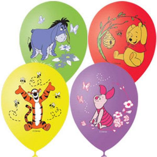 """Воздушные шарики 12""""/30см с 1ст. 3цв. рис. (шелк) Пастель и декоратор Дисней цветной. Винни Пух"""