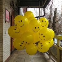 Готовый букет из желтый шаров смайлы улыбки