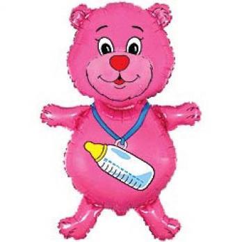 Шар (32''/81 см) Фигура, Медвежонок-девочка, Розовый, 1 шт.