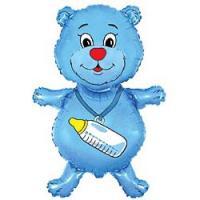 Шар (32''/81 см) Фигура, Медвежонок-мальчик, Синий, 1 шт.
