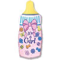 Шар (32''/81 см) Фигура, Бутылочка для девочки, Розовый, 1 шт.