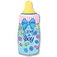 Шар (32''/81 см) Фигура, Бутылочка для мальчика, Синий, 1 шт.