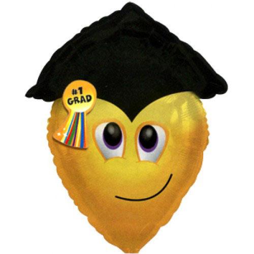 Шар (22''/56 см) Фигура, Смайл-выпускник, Желтый