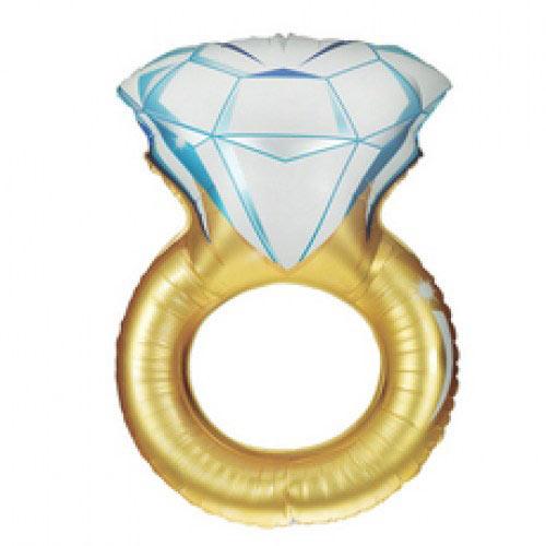 Шар (36''/91 см) Фигура, Обручальное кольцо, Золото