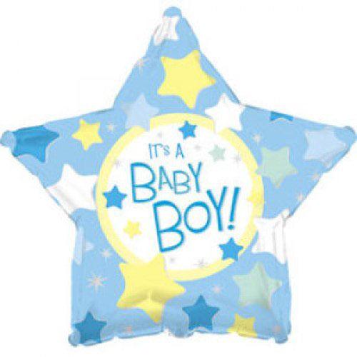 Шар (18''/46 см) Звезда, С рождением мальчика